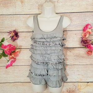 J. Crew Ruffle Sequin Tank Top